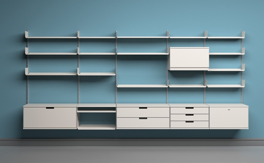 Rob Fissmer with Dieter Rams' 606 Universal Shelving System