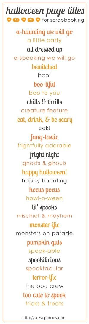 Scrapbook Page Title Ideas - Halloween