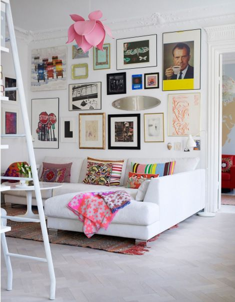 color.: Wall Art, Living Rooms, Lights Fixtures, Frames, Color, Galleries Wall, White Rooms, Art Wall, White Wall
