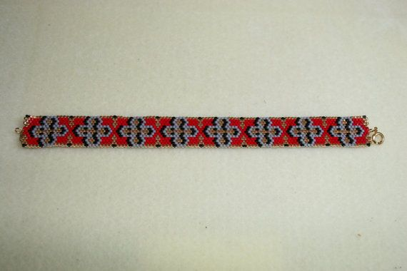 Gothic Cross Peyote Stitch Bracelet by Supposejewellery on Etsy