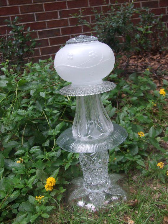 Garden glass totem cottage chic garden garden decor for Garden accessories sale