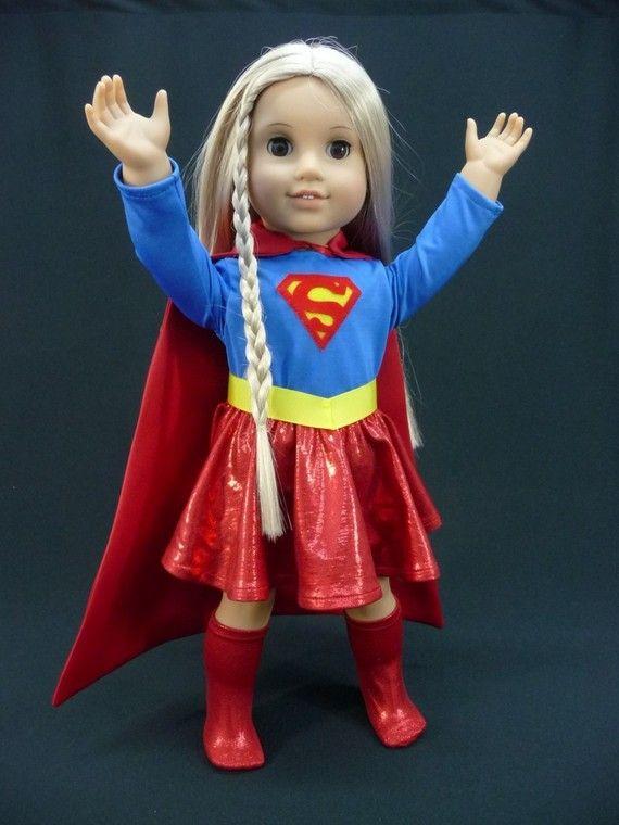 Supergirl, Super Girl, Superhero, Super Hero, outfit or costume for American Girl doll