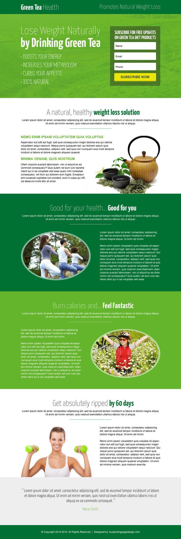 green tea natural modern lead capture landing page design template