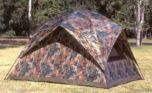 """Texsport 5 Person Headquarters Camo Square Dome Family Camping Backpacking Tent. Spacious five-person tent measures nine-by-six-by-nine feet (W x H x D). Easy set-up and take-down thanks to two-pole, pin-and-ring frame system with shock-corded fiberglass poles and speed clips. D-style front door made of """"no-see-um"""" mesh, mesh rear and side windows with zippered storm flaps, four mesh roof panels, zippered storm flap, and half-length four-peak rainfly. Taffeta material has water-resistant..."""