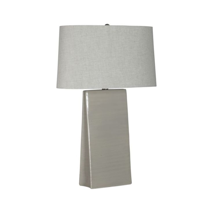 """$199 Slim, pyramid angles new perspectives on the traditional lamp base, crafted of ceramic and glazed glossy grey with etched ribs echoed in the textured grey linen oval shade. Grey ceramic baseGrey linen shade1""""dia.  nickel sphere finialClear 72 """" cordThree-way socket switchCFL included (requires up to 30W CFL or 150W incandescent)Wipe with dry clothMade in ChinaNote: This item is UL-Listed and manufactured in compliance with U. S.  standards."""