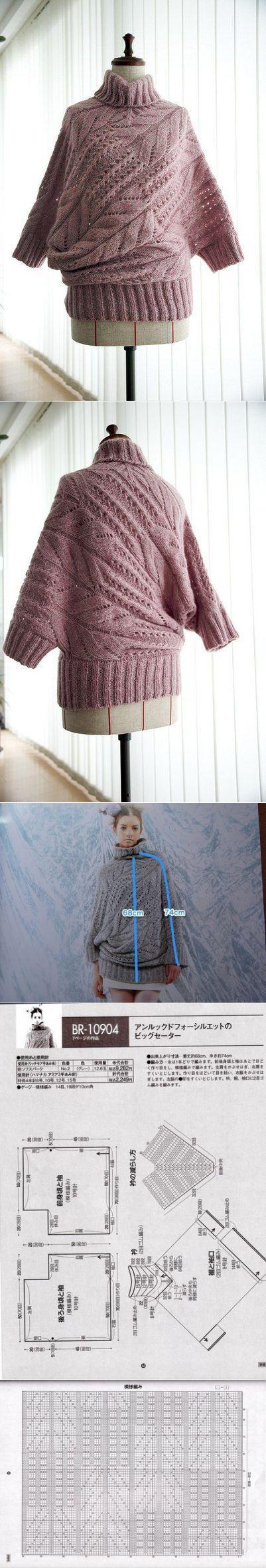 Пуловер оригинального покроя. | Вязалочки | Постила
