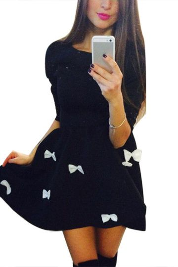 Ladies Black Bowknot Pattern Mini Dress with 3/4 Length Sleeves