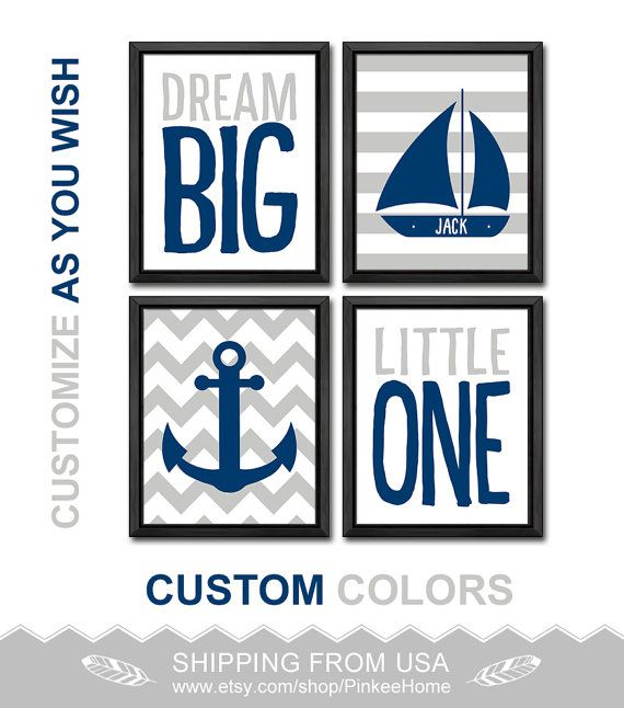 nautical nursery wall art navy grey kids room decor anchor sailboat personalized nautical boy wall art sailor nursery baby gift boys nursery by PinkeeHome