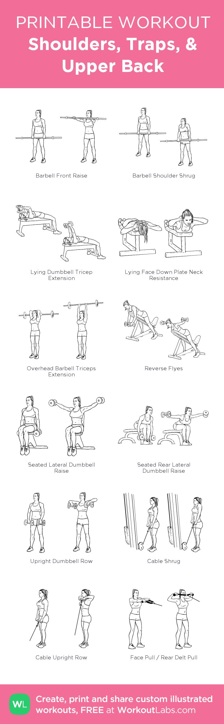 Shoulders, Traps, & Upper Back: my visual workout created at WorkoutLabs.com • Click through to customize and download as a FREE PDF! #customworkout