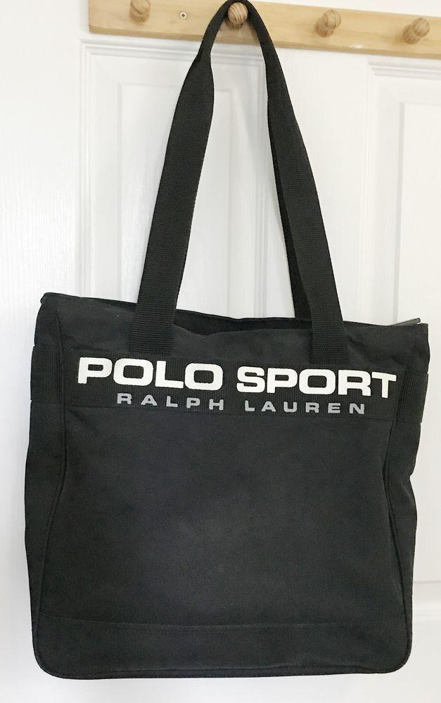 3496ba81c8 Ralph Lauren Polo Nylon Tote Bag Vintage Sport Black Shoulder Bag  PoloSport   ShoulderBag