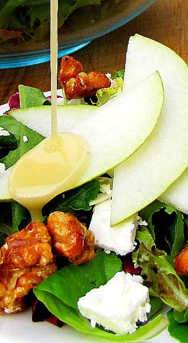 Pear, Walnut and Feta Salad with the BEST Homemade Dressing ❊