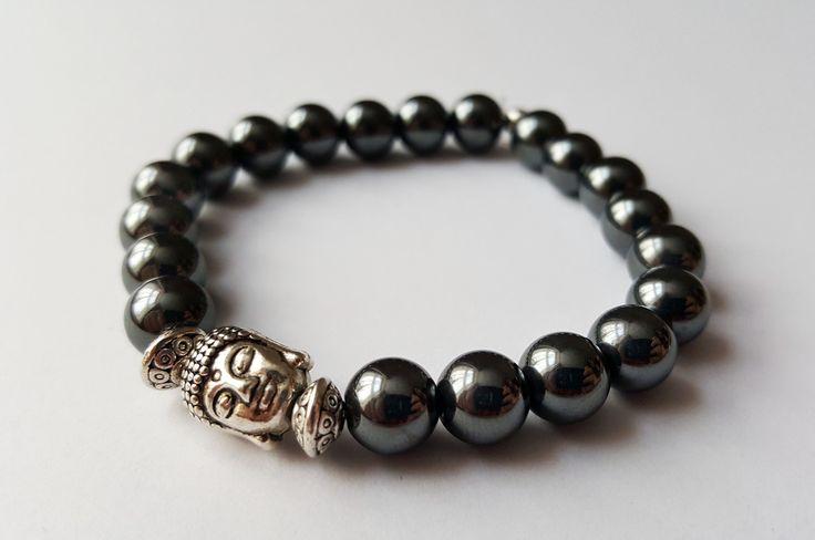 Unisex Genuine Hematite Buddha Bracelet by Wild Lotus Jewellery
