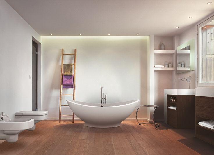 Badausstattung: WC und Bidet Wellcome, Waschtisch Elle, Stuhl Stool, Badewanne Lavasca Mini