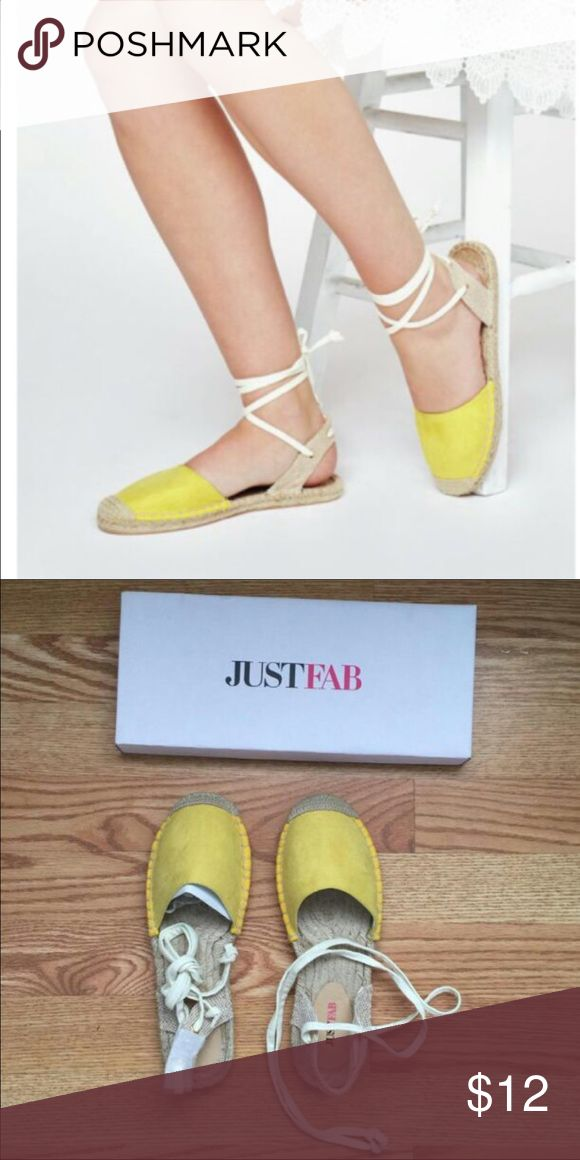 NWT JustFab Sandals Cute yellow espadrille style flats. Never worn before still in box. JustFab Shoes Espadrilles