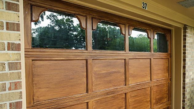 How To Paint Your Garage A Faux Wood Finish Faux Wood Garage Door Garage Doors Garage Door Design
