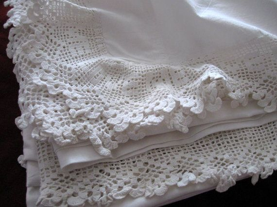 Reserved vintage antique bed sheet white cotton flat love me crochet