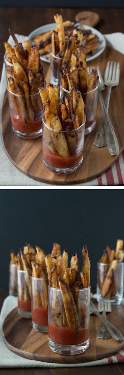 Spicy Dijon French Fries - this recipe for homemade french fries is easy and only takes 35 minutes to bake! Serve them in mini glasses with ketchup or your favorite sauce. A great dinner side!
