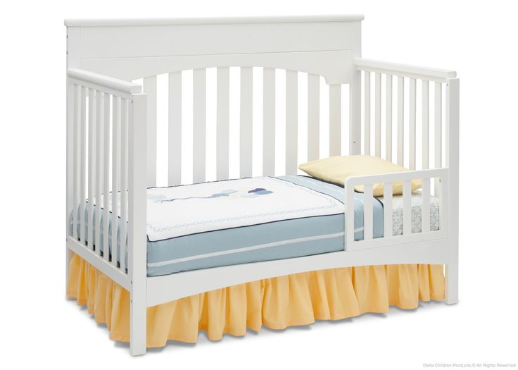 **how to change Mila's crib to toddler bed** Delta Children White Ambiance (108) Bennington Lifestyle 4-in-1 Crib, Toddler Bed Conversion a4a