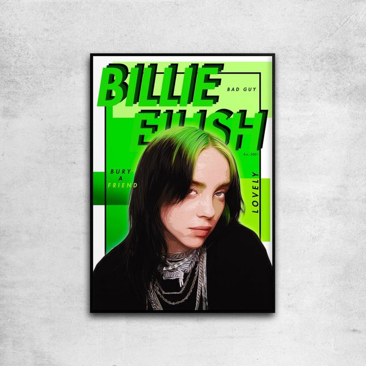 Billie Eilish Personalised Print Poster All Singer Song Names Inside A4 A3
