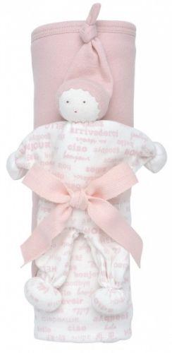 """Gavesett - Økologisk Jerseyteppe + Buddy koseleke. Hooded Blanket Gift Set - Hello Goodbye, blush. Svak rosa. Behagelig babyteppe i delikate farger. Bomullsjersey i dobbel tykkelse med hette. Bløt og godkoseleke, """"Buddy"""", laget i morsom fasong som er enkel å holde. Med knyttede armer og ben tilå tygge på ved tannfrembrudd. Designet for å bli kost med, tygd på og elsket!"""