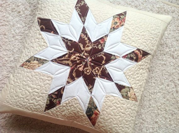 Quilted throw pillow  quilted pillow with star  by PrositoQuilts