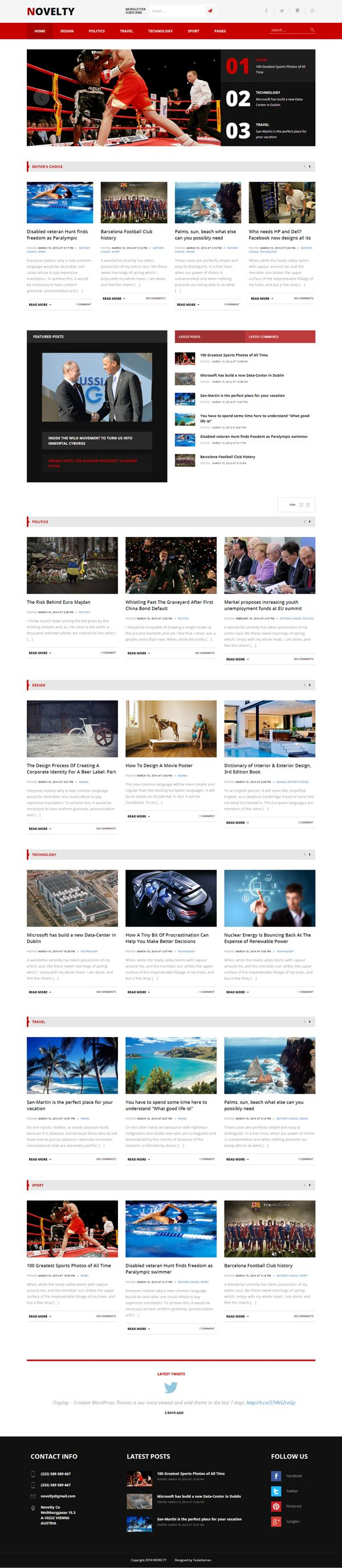 NOVELTY - Magazine WordPress Theme by WordPress Awards, via Behance