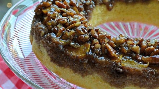 Amaretto flavors this lovely peach and pecan upside-down cake.