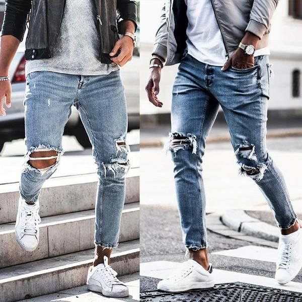 Casual Tight Fitting Trousers Jeans Dayclever Ripped Jeans Men Skinny Jeans Men Mens Fashion Casual