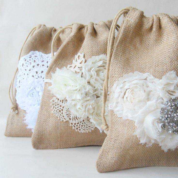 Handcrafted Drawstring Burlap Bag | great purse for #rusticweddings / from Paper Flora / as seen on www.BrendasWeddingBlog.com
