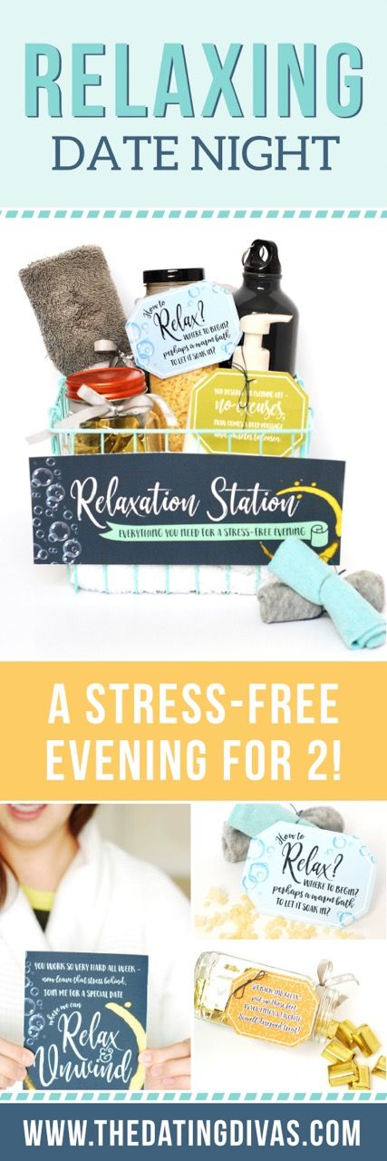 A relaxing date night gift basket filled with activities for a stress-free evening at home! Printables designed by Joanna at Cutify Creative