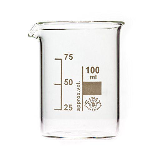 Bechergläser, Becherglas 100 ml niedere Form, mit Ausguss, graduiert
