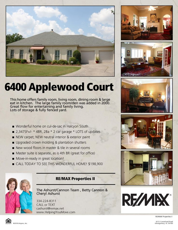 Updated & spacious in great location * 2,347SF+/- * 4BR, 2Ba w/ 2car garage * NEW interior & exterior paint * NEW carpet * Great flow & practical floorplan * 6400 Applewood Court * $198,900