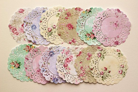 Shabby Roses patterned paper die cut paper doilies
