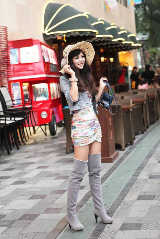 Wholesale Waterproof increased overknee long boots Z-XS8-99 grey - Lovely Fashion