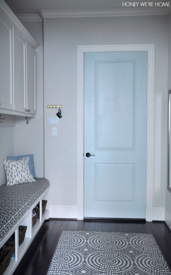 Mudroom with painted door- Comfort Gray by Sherwin Williams & 231 best Sherwin Williams Colors images on Pinterest | Color schemes ...