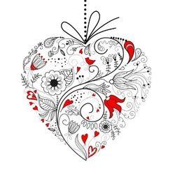 Trouwkaart artistiek hart gemaakt van getekende bloemen. Kies de kaart, pas de tekst aan en vraag een gratis proefdruk op (je betaalt zelfs geen verzendkosten!). http://www.trouwpost.nl/trouwkaarten/hartjes/