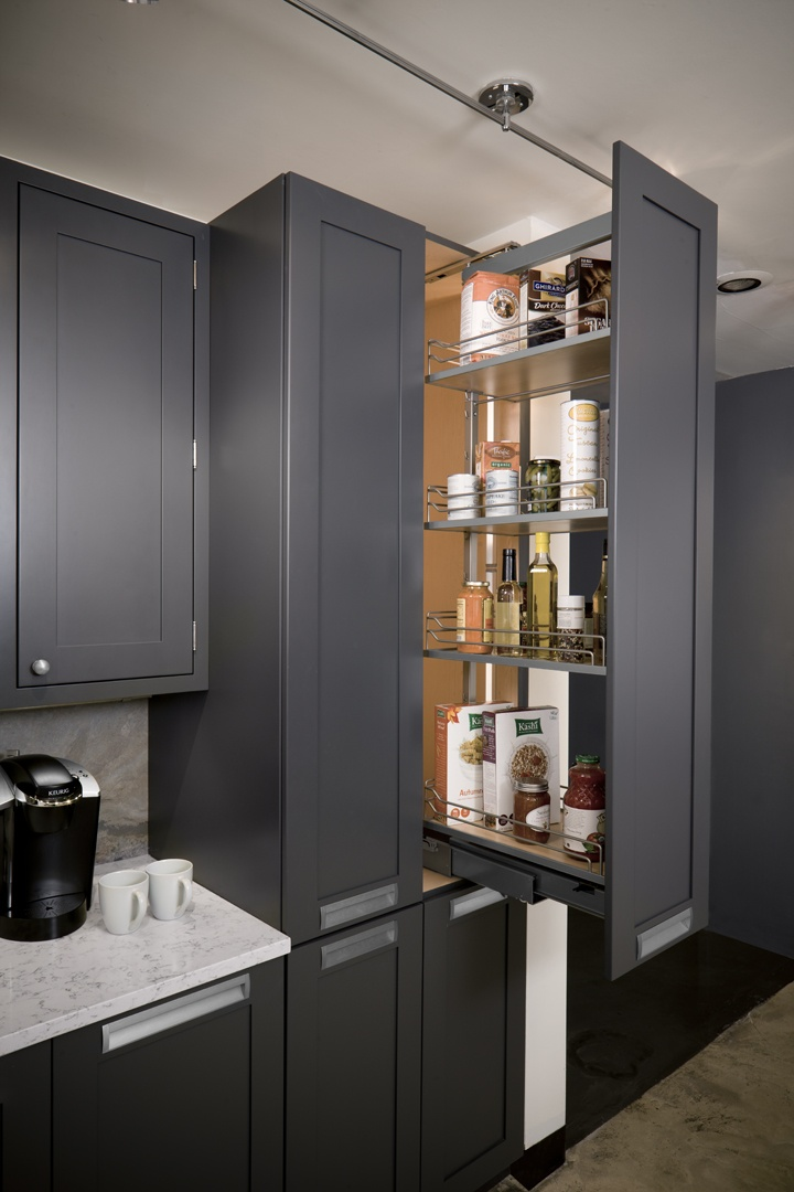 There is so much storage space in a pullout pantry unit for Kitchen cabinets 36 high