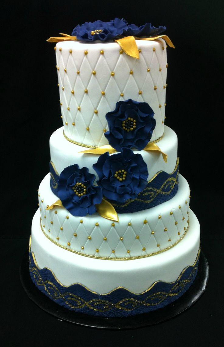 Gold & Purple Wedding Cake