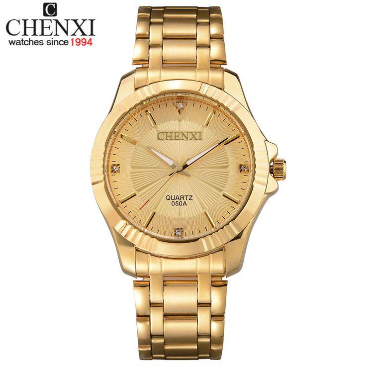 Top Qualidade Relógio de Homens de Moda De Luxo Ouro Marca CHENXI Quartzo-Relógio de Aço Inoxidável Relógios De Pulso Por Atacado Relógio De Ouro dos homens(China (Mainland))