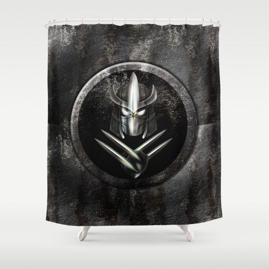Rustic Metal samurai shredder Mask Shower Curtain #ShowerCurtain #Shower #Curtain #ninjaturtles #ninja #turtles #teenage #mutant #leonardo #donatello #raphael #michelangelo #turtlepower #footsoldier #shredder