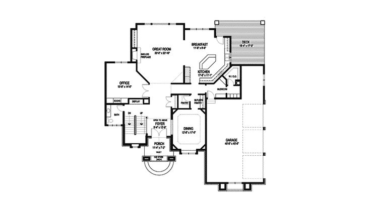 Arts crafts house plan first floor 013s 0009 house for Arts and crafts floor plans