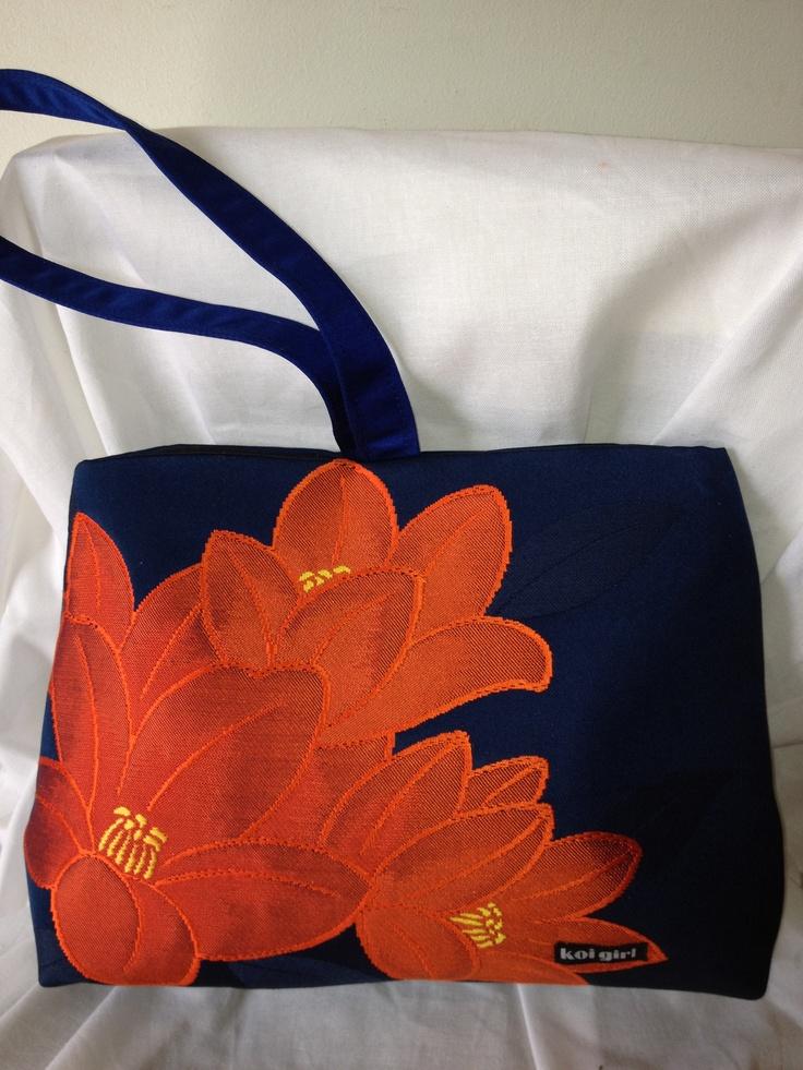 Royal Blue/Burnt Orange Floral Wristlet Bag  www.koigirl.com.au