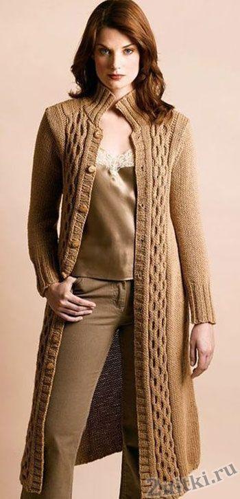 Длинное пальто песочного цвета