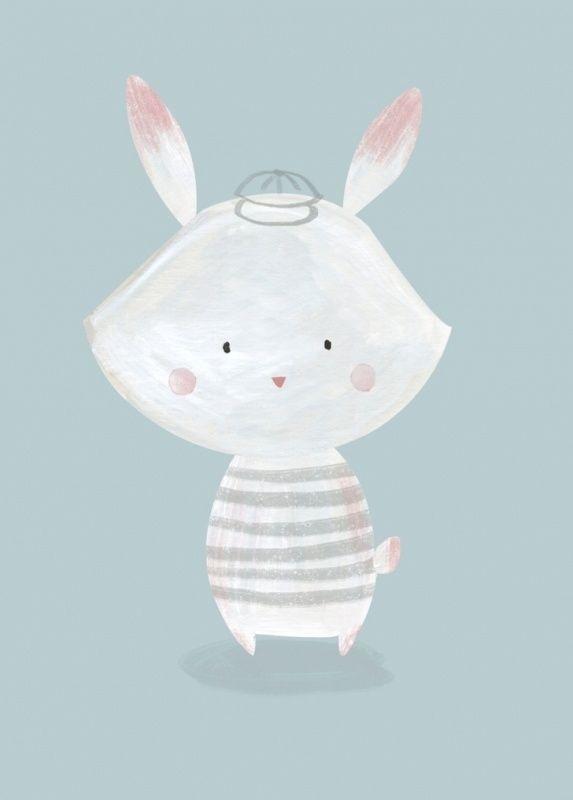 Ansichtkaart Konijn Ansichtkaart met lief konijntje. Gedrukt met milieubewuste inkt. Illustratie van Bianca Pozzi.