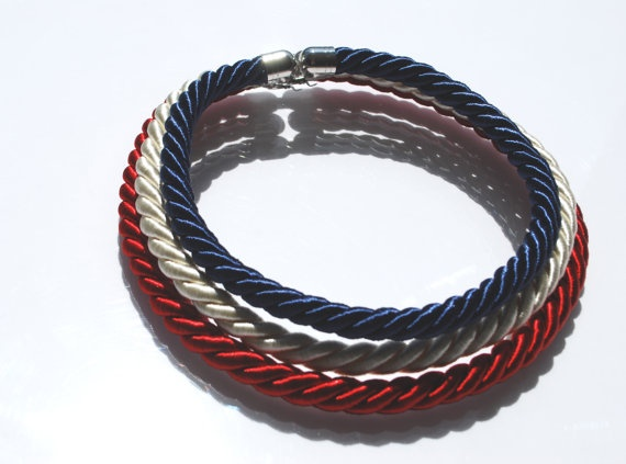 The three fabric ropes create a navy-like striped band.  47 cm long necklace closed by a metal clasp.    This object has been made with optimum quality entirely handmade materials and accessories. Each small imperfection makes the item unique. #jewels