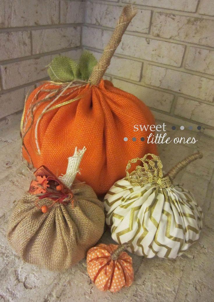 DIY Fabric and Burlap Pumpkins - www.sweetlittleonesblog.com