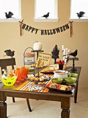 Halloween buffet. BHG. originally from http://www.bhg.com/halloween/parties/family-friendly-halloween-party/