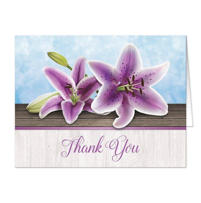 Pretty Floral Wood Purple Lily Thank You Cards