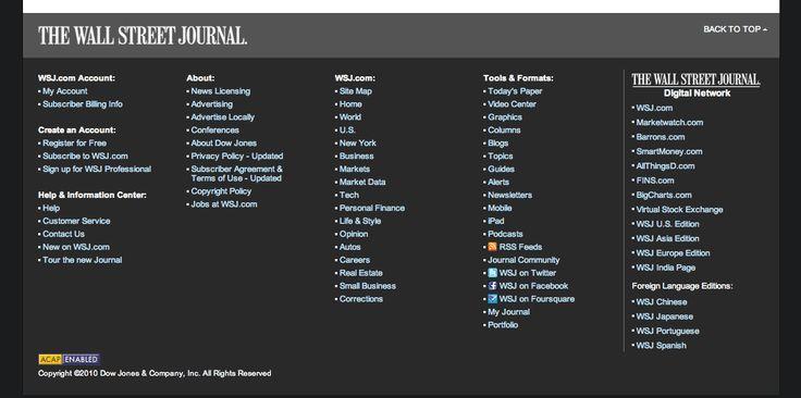 Sitemap Footer - Wallstreet Journal