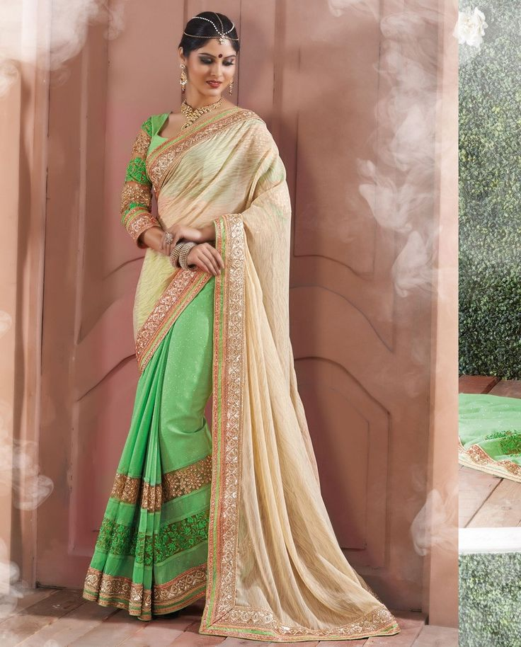 Green and cream half and half sari with embroidered border   1. Green and beige chiffon shimmer georgette net embroidered half and half sari2. Heavy Zari resham embroidery embroidery butta with stone work and lace border3. Comes with matching unstitched blouse4. Can be stitched upto size 42 inches